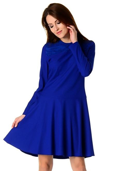 Cotton Bar Uzun Kollu Kloş Elbise Saks